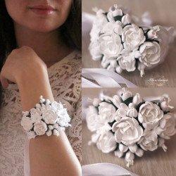 """""""Белые пионы"""" свадебный браслет для невесты или свидетельницы"""