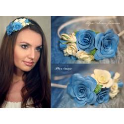 """""""Воздушный"""" обруч для волос с розами из полимерной глины"""