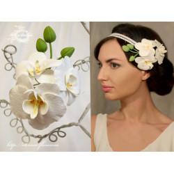"""Белая заколка для волос """"Веточка орхидеи"""""""