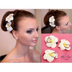 """""""Белая орхидея """"(1шт) заколка цветок из полимерной глины"""