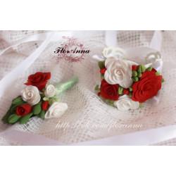 """""""Бело-красные розы"""" бутоньерка и браслет для невесты"""