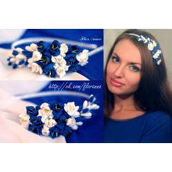 """""""Бело-синие фрезии"""" ободок для волос с цветами"""