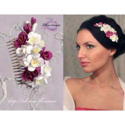 """""""Бело-розовые фрезии2 свадебный гребень для волос с цветами"""