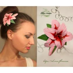 """""""Композиция с розовой лилией"""" заколка цветок ручной работы."""