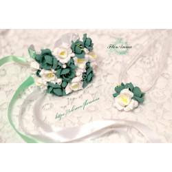 """""""Бело-мятные фрезии """"комплект украшений с цветами: (браслет и кулон )"""