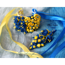 """""""Жёлто-синий жасмин"""" Свадебный комплект в украинском стиле бутоньерка+браслет."""