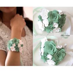 """Браслет на руку с розами ручной работы """"Бело-мятные розы"""""""