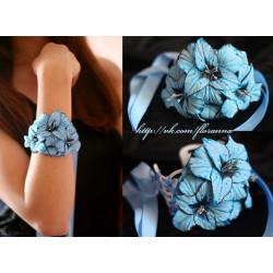 """""""Голубые гладиолусы"""" Голубой браслет на руку с цветами ручной работы"""