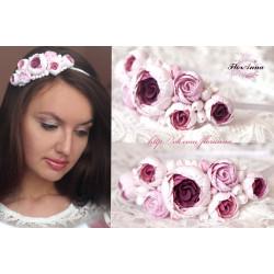 """""""Бело-розовые пиончики"""" обруч для волос с цветами ручной работы"""