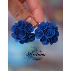 """""""Синие розы"""" серьги из полимерной глины"""