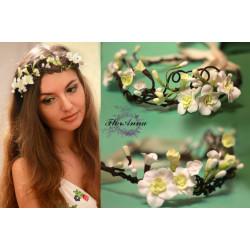"""""""Весенний"""" веночек для волос с цветами из полимерной глины"""