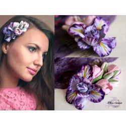 """""""Ирис с тюльпанами"""" гребень для волос с цветами"""