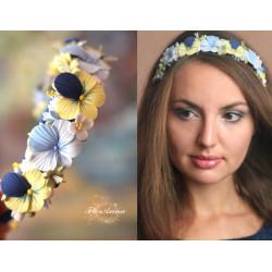 """""""Анютины глазки"""" желто-синий обруч/веночек с цветами ручной работы"""