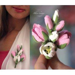 """""""Тюльпаны"""" брошь с цветами из полимерной глины"""