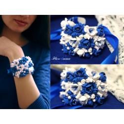 """Синий браслет на руку с цветами  """"Бело-лазурные фрезии"""""""