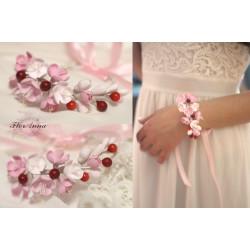 """""""Веточка вишни"""" розовый браслет с цветами ручной работы из полимерной глины"""