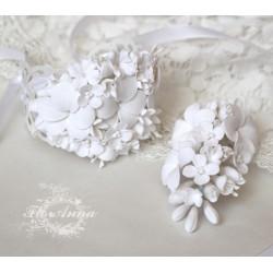 """""""Воздушное облако"""" (браслет + бутоньерка) белые свадебные украшения ручной работы"""