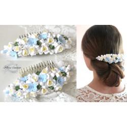 """""""Голубые гортензии с фрезиями"""" свадебный гребень для волос с цветами"""