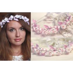 Веночек для волос с цветами Бело-розовый жасмин