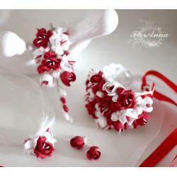 """""""Бело-красные фрезии"""" комплект украшений (браслет+серьги+заколка+кулон)"""