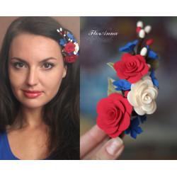 "Авторская заколка для волос ""Фэнтези с розами"""
