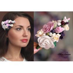 Авторская заколка для волос с цветами Викторианские розы с фрезиями