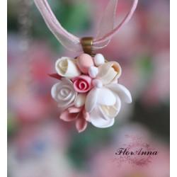 """""""Десерт"""" бело-розовый кулон"""