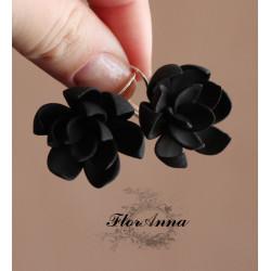 """""""Стильный вечер"""" черные серьги с цветами"""