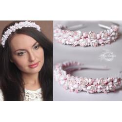 """""""Бело-розовый жасмин"""" свадебный ободок для волос"""