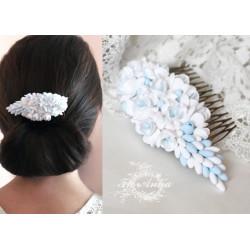 """""""Бело-голубые фрезии"""" свадебный гребень для волос"""