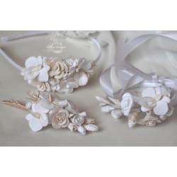 """""""Розочки с орхидеями"""" авторский свадебный комплект украшений с цветами из полимерной глины."""