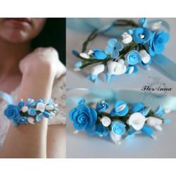 """""""Лазурный бриз"""" голубой браслет с цветами из полимерной глины"""