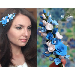 """""""Лазурный бриз"""" голубая заколка с цветами"""