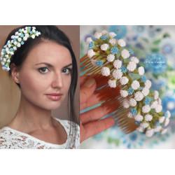 """""""Бело-голубая гипсофила"""" свадебный гребень для волос с цветами"""
