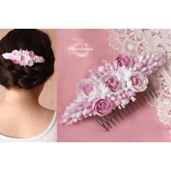 """""""Бело-розовые пиончики"""" свадебный гребень для волос"""