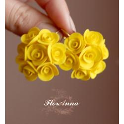 """""""Солнечные розы"""" желтые серьги  ручной работы с цветами"""