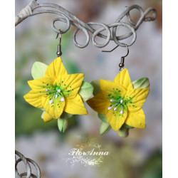 """""""Жёлтые лилии с бутонами"""" авторские серьги ручной работы жёлтого цвета"""