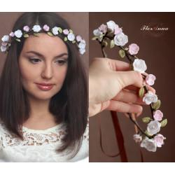 """""""Розочки с розовой яблоней"""" свадебный веночек с цветами"""