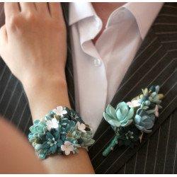 """""""Мята""""  (бутоньерка1браслет) бирюзовые свадебные украшения"""