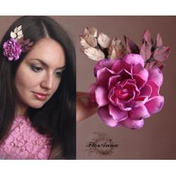 """""""Волшебная гармония""""  розовая заколка для волос с цветами"""