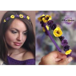 """""""Жёлтый фиолет"""" длинный ободок  для волос"""
