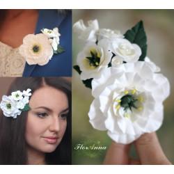 """""""Белые эустомы с розами"""" заколка/брошь ручной работы"""