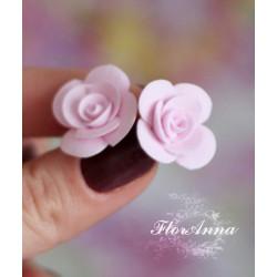 """""""Розовые розочки"""" серьги гвоздики из полимерной глины"""