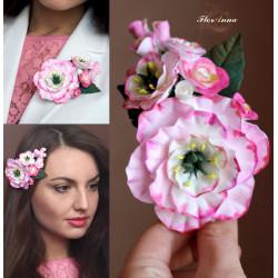 """""""Розовые эустомы c розами."""" заколка/брошь с цветами из полимерной глины"""