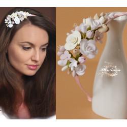 """""""Ванильный парфе""""(1шт) ободок для волос с цветами ручной работы"""