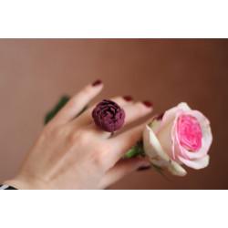 """""""Пион марсала"""" бордовое кольцо с цветком ручной работы"""