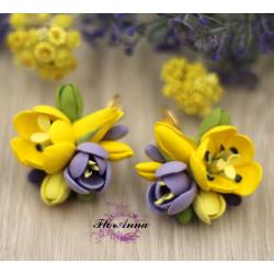 """""""Весенний контраст"""" серьги с тюльпанами и фрезиями"""