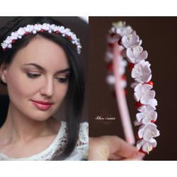 """""""Вишня"""" ободок/веночек с цветами и ягодами"""