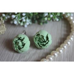 """""""Мятные пионы"""" зеленые серьги ручной работы с цветами"""