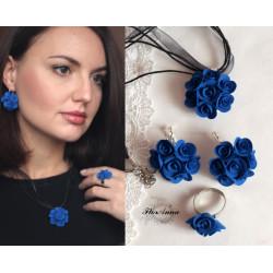 """""""Синие розы"""". (серьги+ кулон+ кольцо)"""